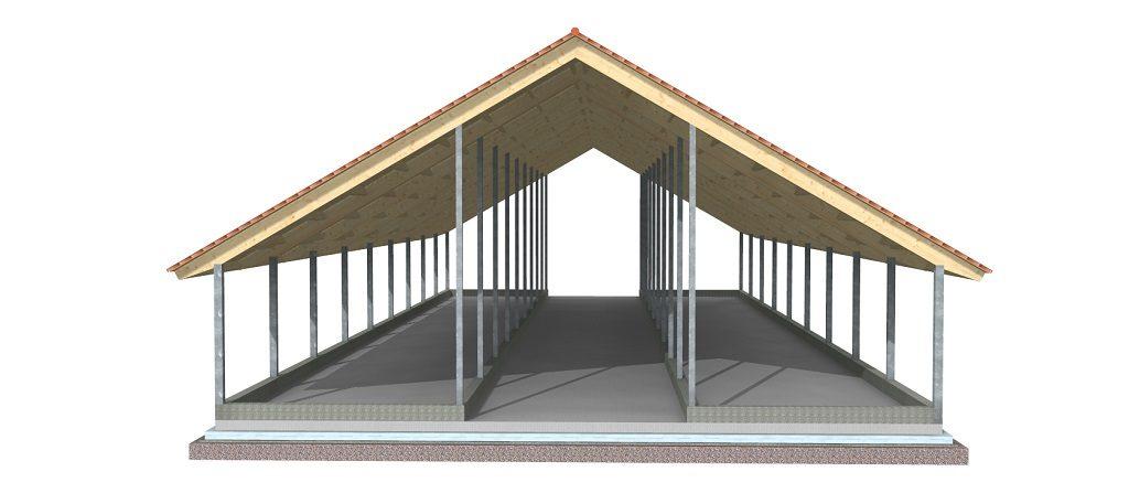 Lesena strešna konstrukcija hleva na železnih stebrih